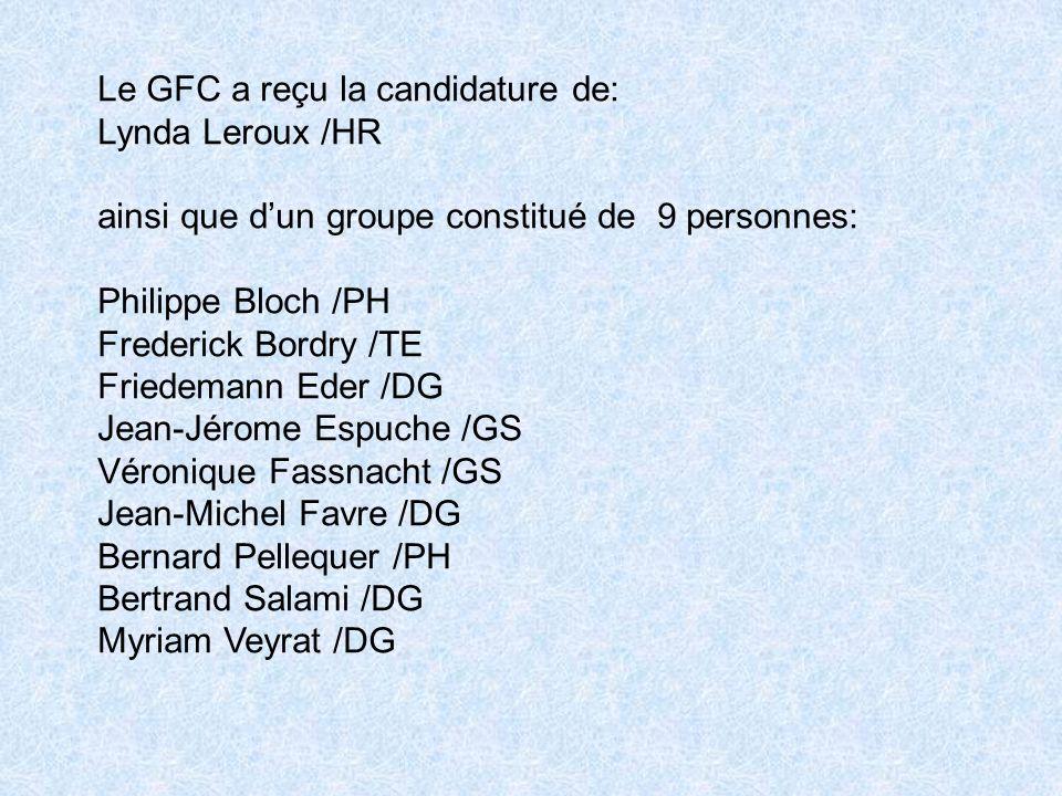 Le GFC a reçu la candidature de: Lynda Leroux /HR ainsi que dun groupe constitué de 9 personnes: Philippe Bloch /PH Frederick Bordry /TE Friedemann Eder /DG Jean-Jérome Espuche /GS Véronique Fassnacht /GS Jean-Michel Favre /DG Bernard Pellequer /PH Bertrand Salami /DG Myriam Veyrat /DG