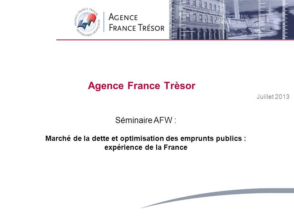 1 Strictly Private and ConfidentialMay 2008 Agence France Trèsor Juillet 2013 Séminaire AFW : Marché de la dette et optimisation des emprunts publics : expérience de la France