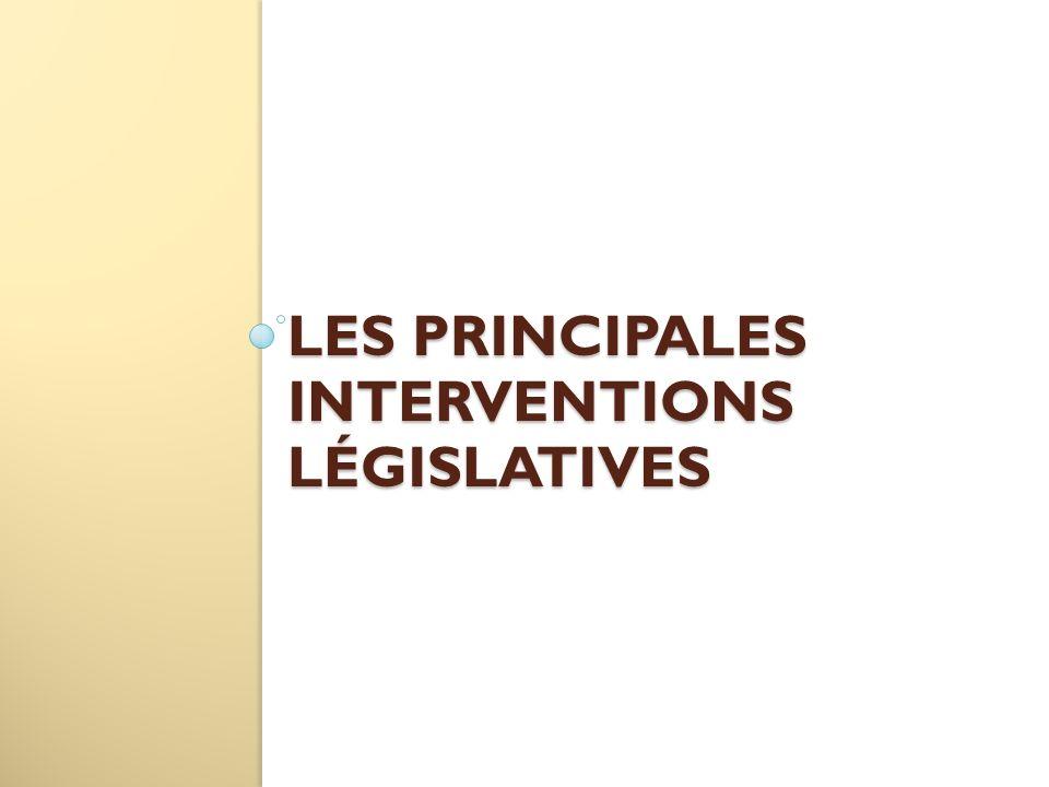 LES PRINCIPALES INTERVENTIONS LÉGISLATIVES