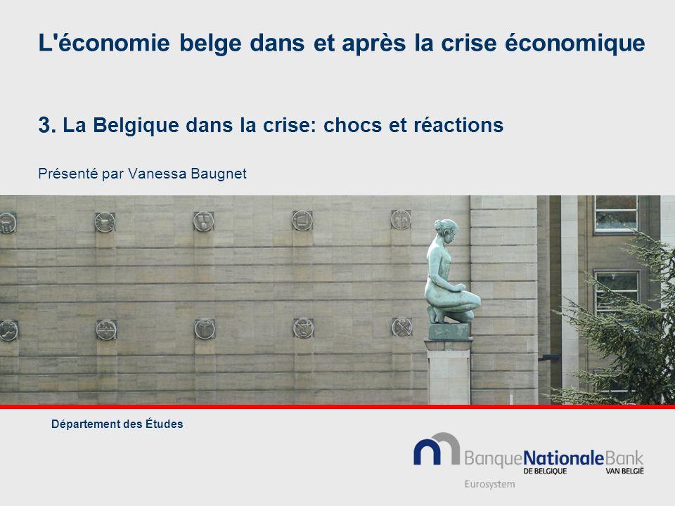 L'économie belge dans et après la crise économique 3. La Belgique dans la crise: chocs et réactions Présenté par Vanessa Baugnet Département des Étude