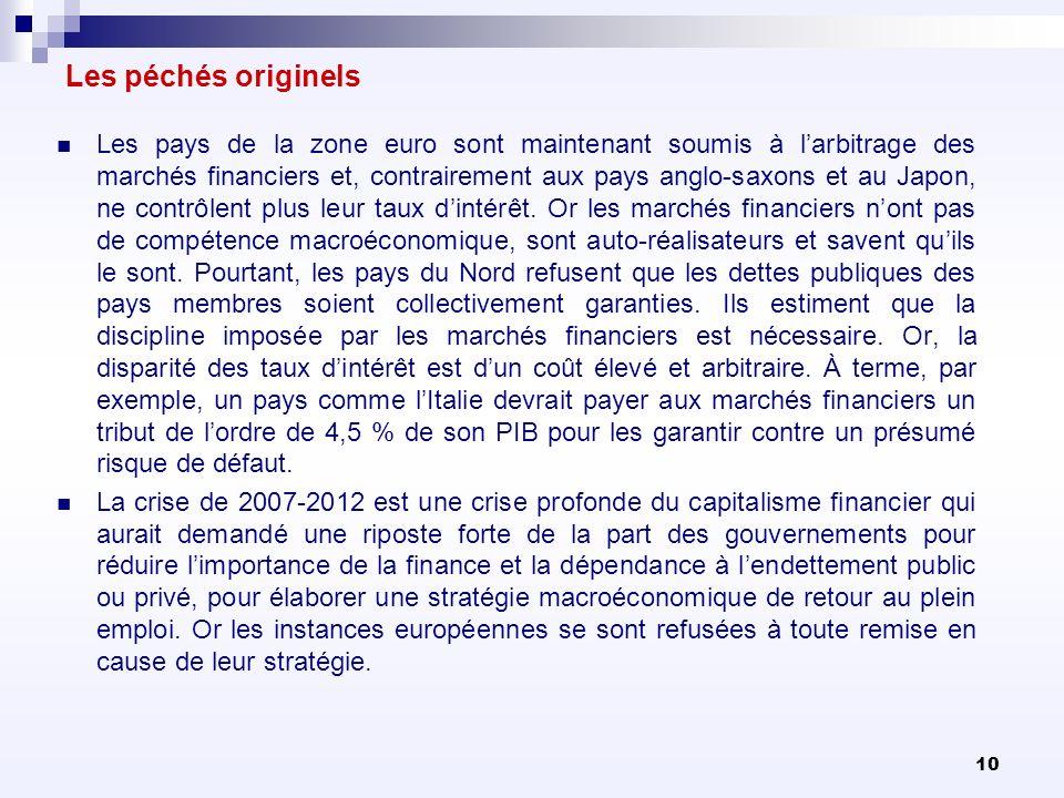 10 Les péchés originels Les pays de la zone euro sont maintenant soumis à larbitrage des marchés financiers et, contrairement aux pays anglo-saxons et