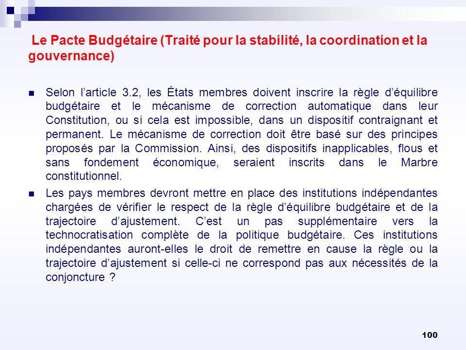 100 Le Pacte Budgétaire (Traité pour la stabilité, la coordination et la gouvernance) Selon larticle 3.2, les États membres doivent inscrire la règle