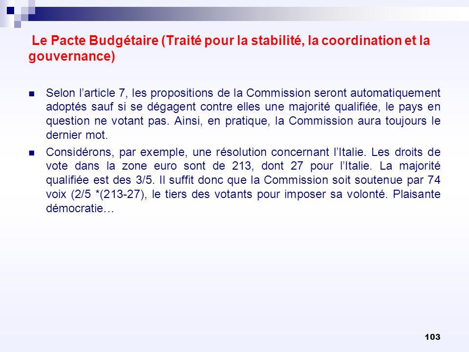 103 Le Pacte Budgétaire (Traité pour la stabilité, la coordination et la gouvernance) Selon larticle 7, les propositions de la Commission seront autom