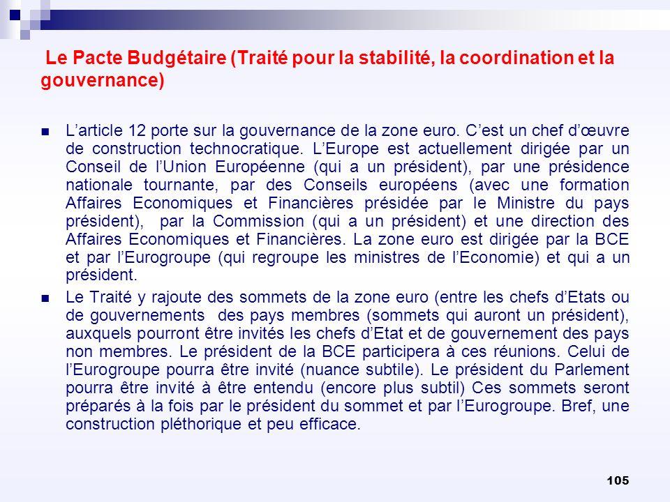 105 Le Pacte Budgétaire (Traité pour la stabilité, la coordination et la gouvernance) Larticle 12 porte sur la gouvernance de la zone euro. Cest un ch