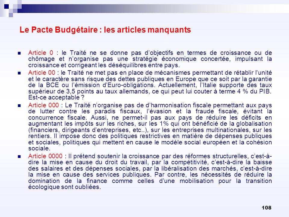 108 Le Pacte Budgétaire : les articles manquants Article 0 : le Traité ne se donne pas dobjectifs en termes de croissance ou de chômage et norganise p