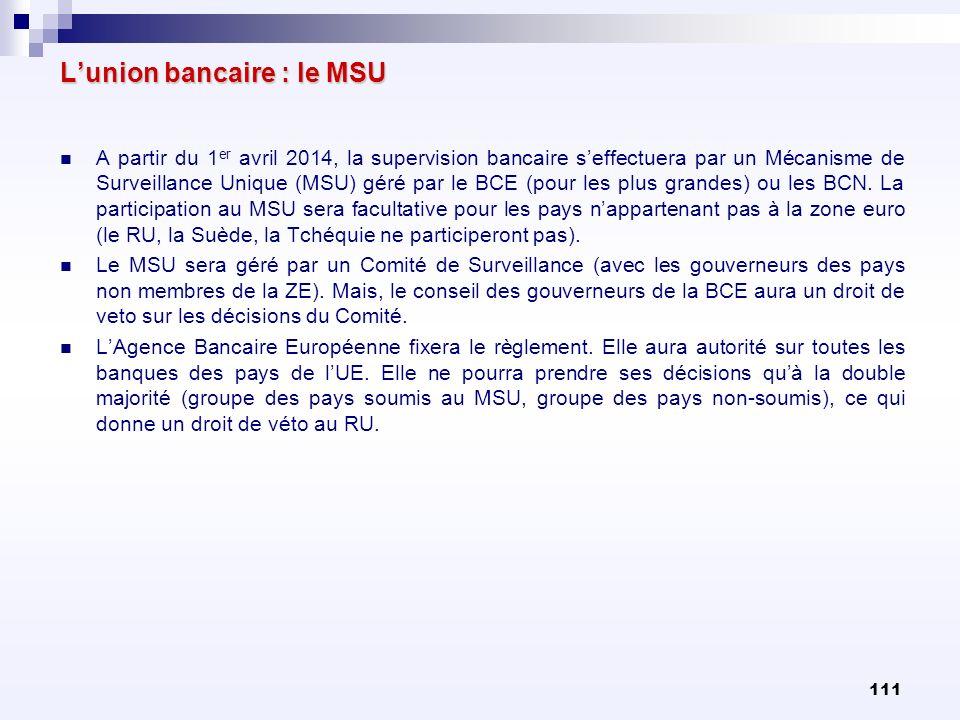 111 Lunion bancaire : le MSU A partir du 1 er avril 2014, la supervision bancaire seffectuera par un Mécanisme de Surveillance Unique (MSU) géré par l