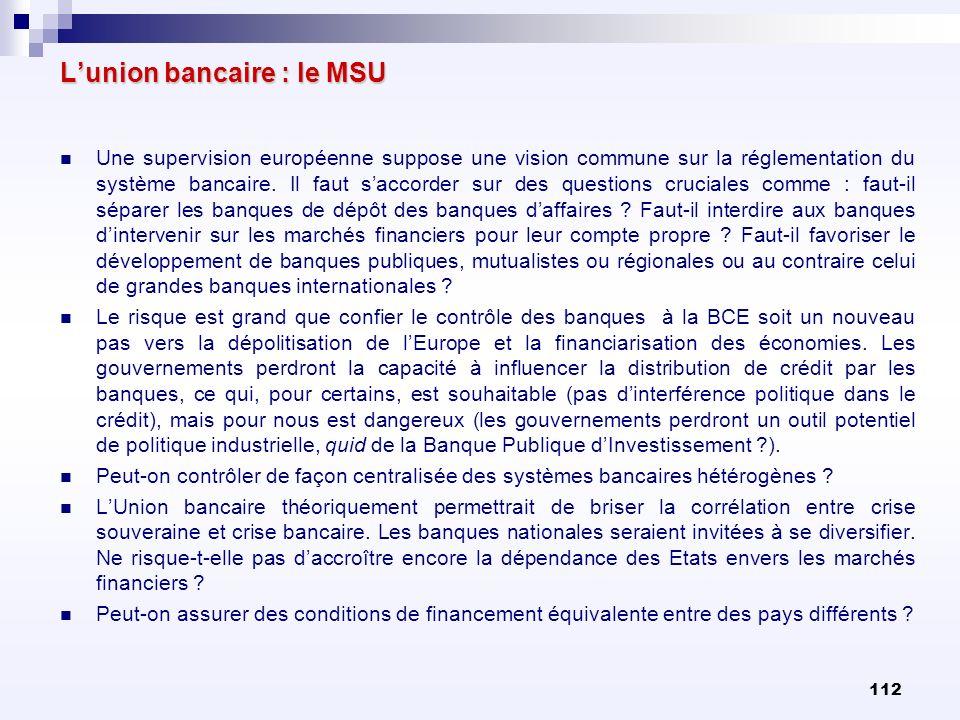 112 Lunion bancaire : le MSU Une supervision européenne suppose une vision commune sur la réglementation du système bancaire. Il faut saccorder sur de