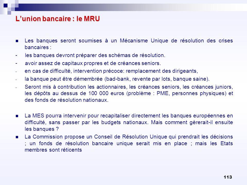 113 Lunion bancaire : le MRU Les banques seront soumises à un Mécanisme Unique de résolution des crises bancaires : - les banques devront préparer des