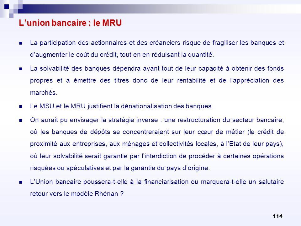 114 Lunion bancaire : le MRU La participation des actionnaires et des créanciers risque de fragiliser les banques et daugmenter le coût du crédit, tou