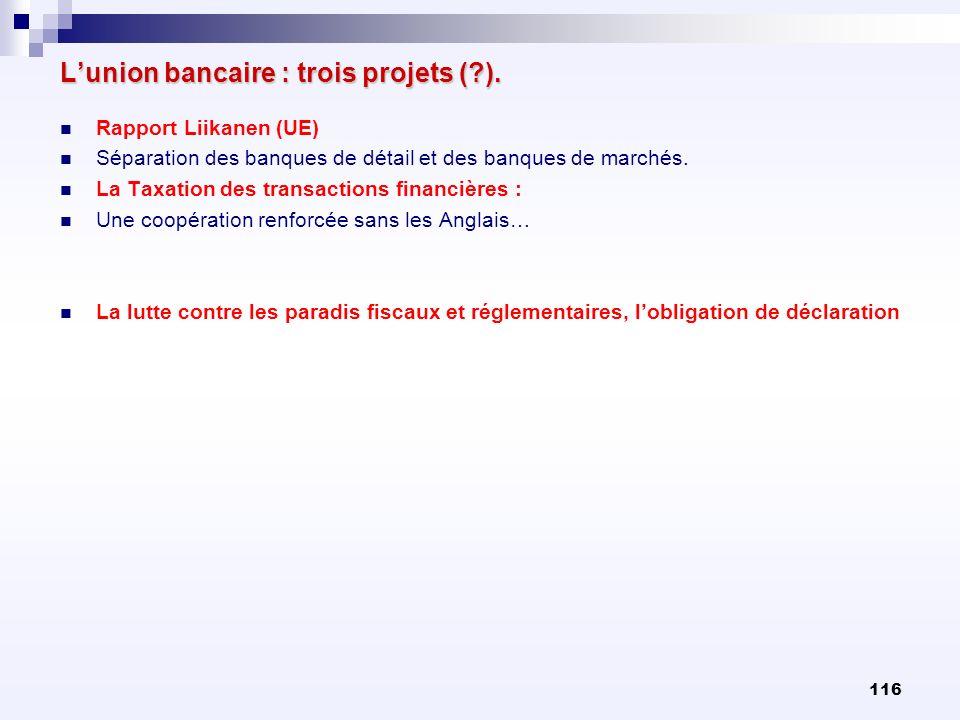 116 Lunion bancaire : trois projets (?). Rapport Liikanen (UE) Séparation des banques de détail et des banques de marchés. La Taxation des transaction
