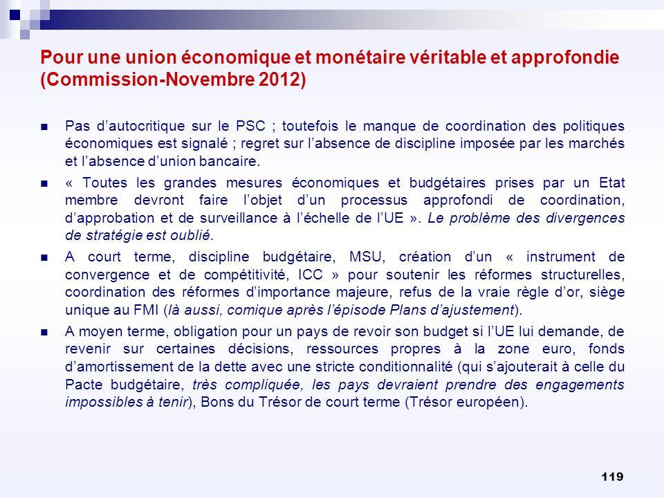 Pour une union économique et monétaire véritable et approfondie (Commission-Novembre 2012) Pas dautocritique sur le PSC ; toutefois le manque de coord