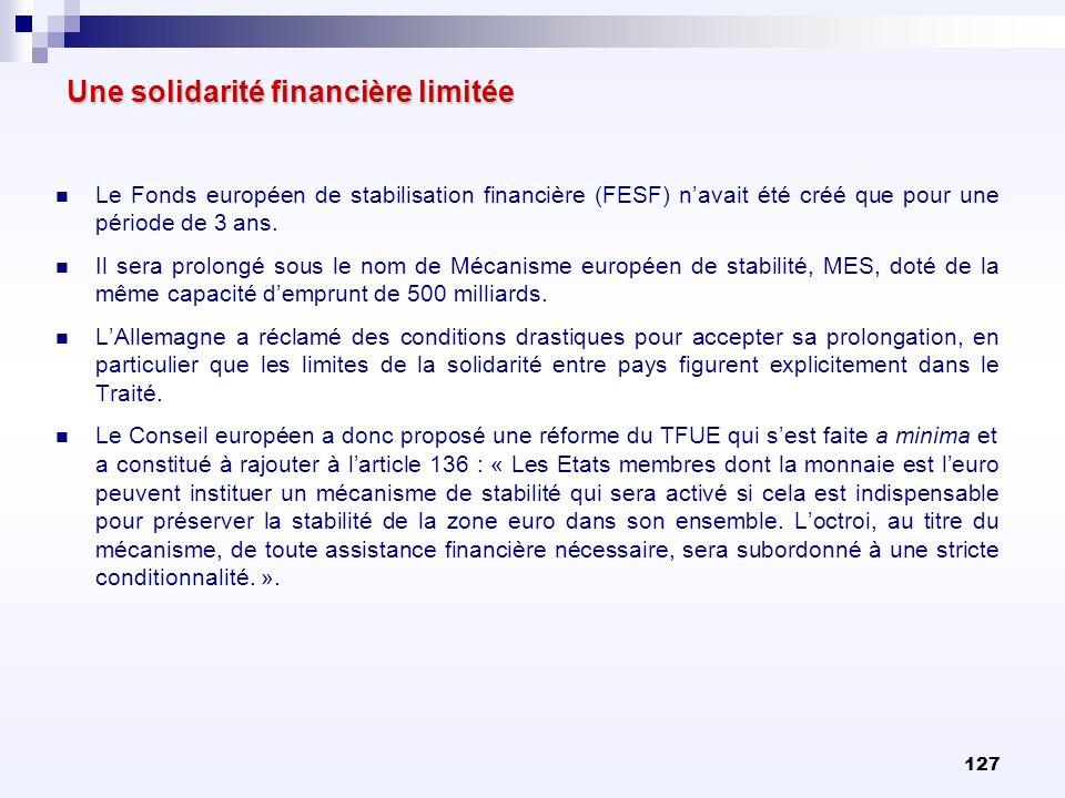 127 Une solidarité financière limitée Le Fonds européen de stabilisation financière (FESF) navait été créé que pour une période de 3 ans. Il sera prol