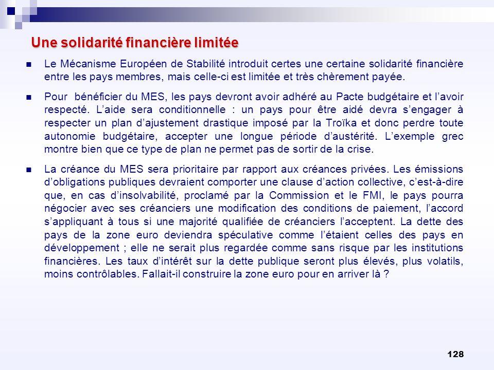 128 Une solidarité financière limitée Le Mécanisme Européen de Stabilité introduit certes une certaine solidarité financière entre les pays membres, m