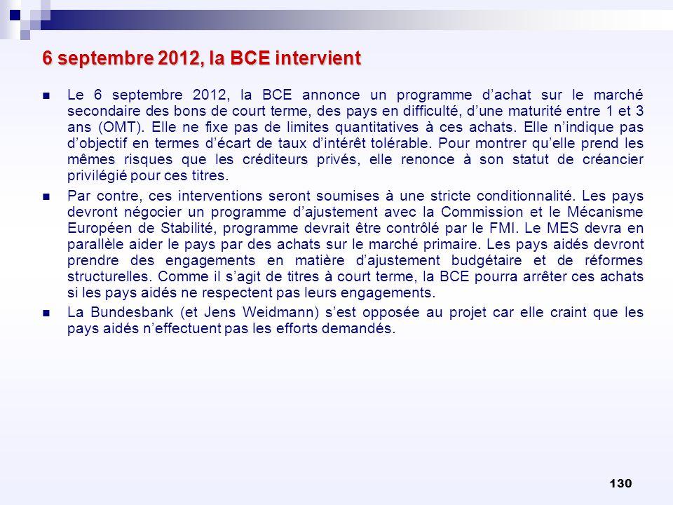 130 6 septembre 2012, la BCE intervient Le 6 septembre 2012, la BCE annonce un programme dachat sur le marché secondaire des bons de court terme, des