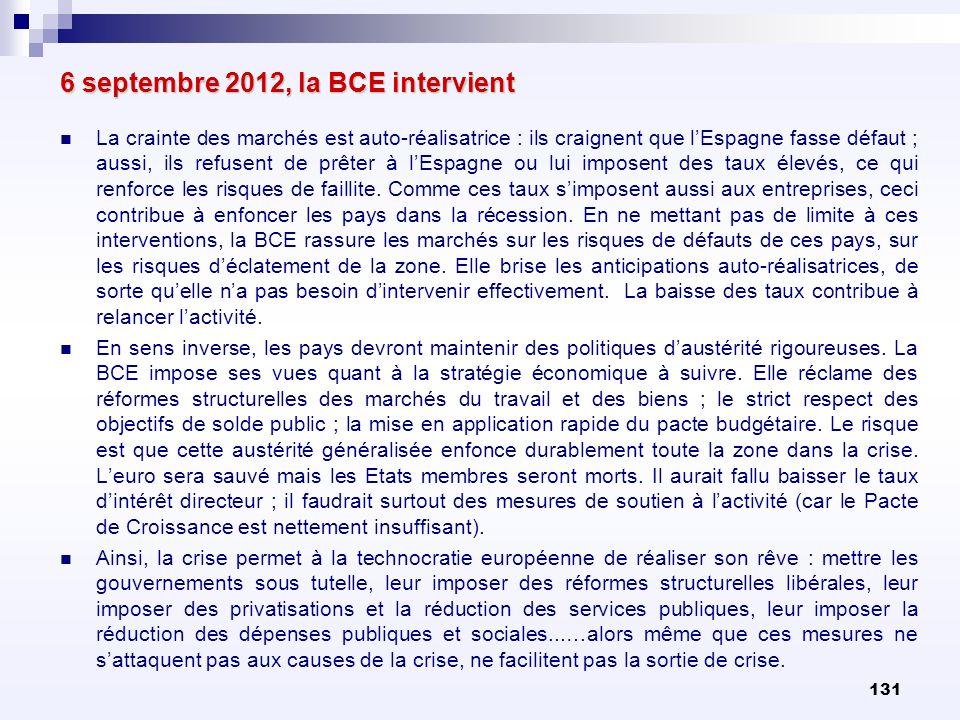 131 6 septembre 2012, la BCE intervient La crainte des marchés est auto-réalisatrice : ils craignent que lEspagne fasse défaut ; aussi, ils refusent d