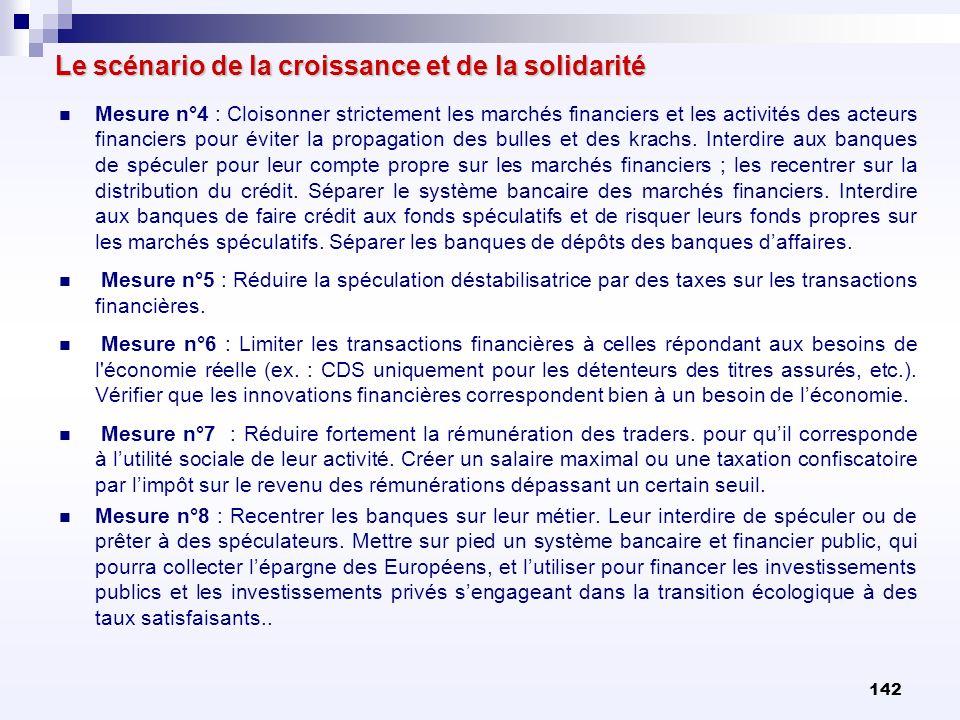 142 Le scénario de la croissance et de la solidarité Mesure n°4 : Cloisonner strictement les marchés financiers et les activités des acteurs financier