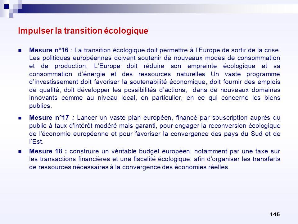 145 Mesure n°16 : La transition écologique doit permettre à lEurope de sortir de la crise. Les politiques européennes doivent soutenir de nouveaux mod