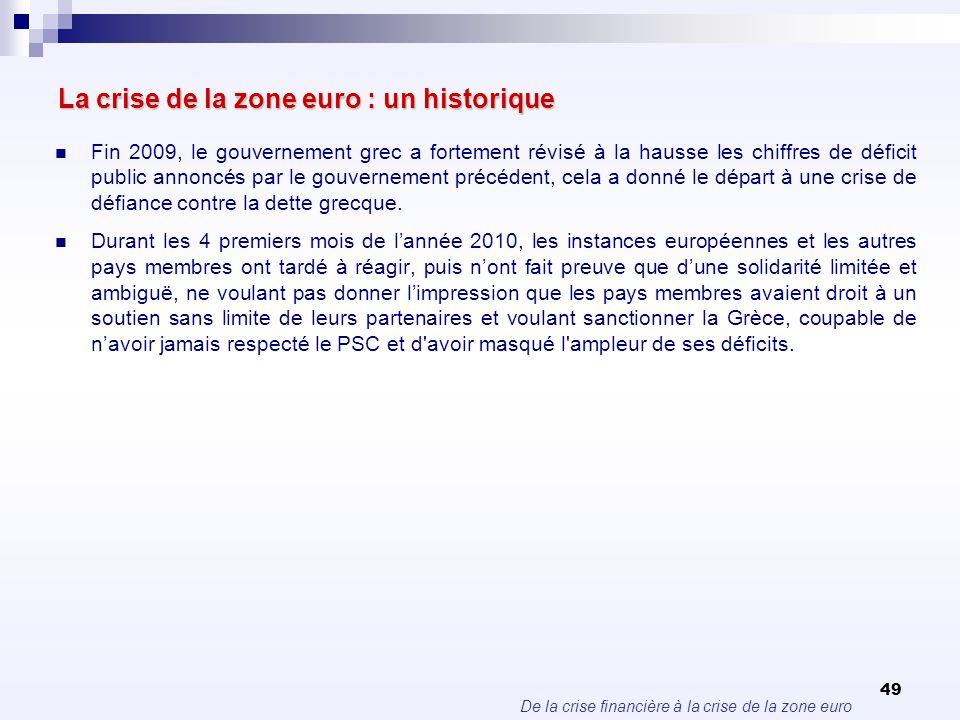 De la crise financière à la crise de la zone euro 49 La crise de la zone euro : un historique Fin 2009, le gouvernement grec a fortement révisé à la h