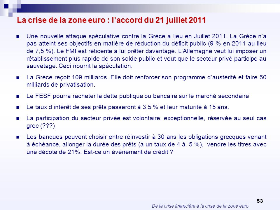 De la crise financière à la crise de la zone euro 53 La crise de la zone euro : laccord du 21 juillet 2011 Une nouvelle attaque spéculative contre la