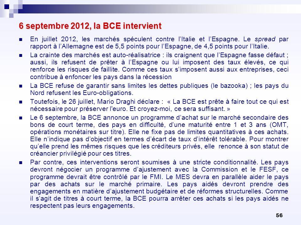 56 6 septembre 2012, la BCE intervient En juillet 2012, les marchés spéculent contre lItalie et lEspagne. Le spread par rapport à lAllemagne est de 5,