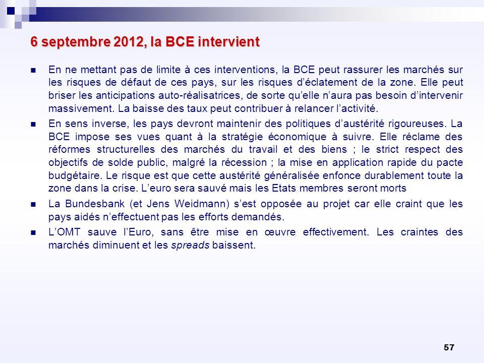 57 6 septembre 2012, la BCE intervient En ne mettant pas de limite à ces interventions, la BCE peut rassurer les marchés sur les risques de défaut de