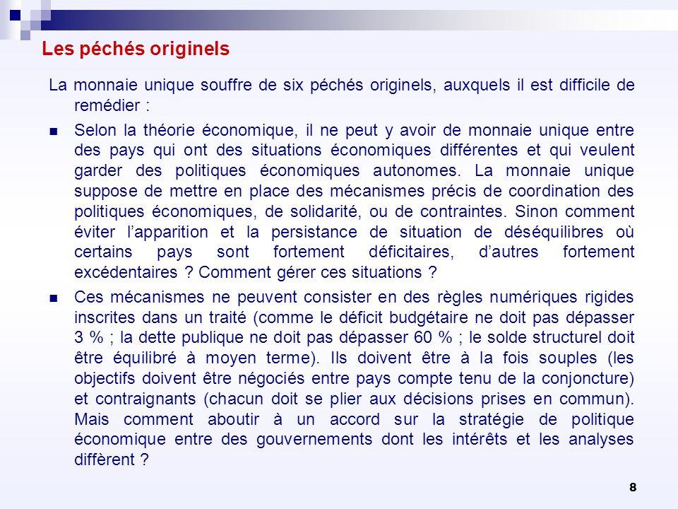 109 Ainsi, quatre mécanismes ont été introduits qui vont dans le même sens mais qui font quadruple emploi : le semestre européen, la surveillance des déséquilibres macroéconomiques, le Pacte pour lEuro plus, le Pacte budgétaire.