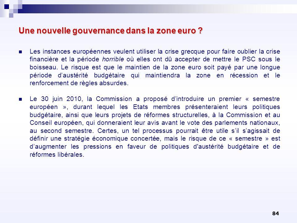 84 Une nouvelle gouvernance dans la zone euro ? Les instances européennes veulent utiliser la crise grecque pour faire oublier la crise financière et