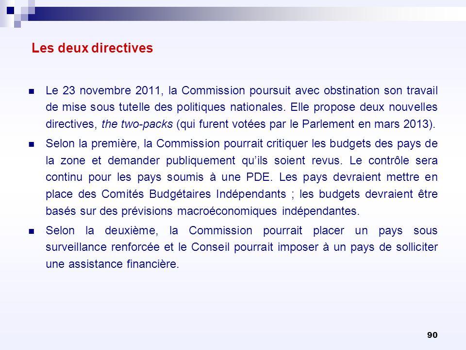 90 Les deux directives Le 23 novembre 2011, la Commission poursuit avec obstination son travail de mise sous tutelle des politiques nationales. Elle p