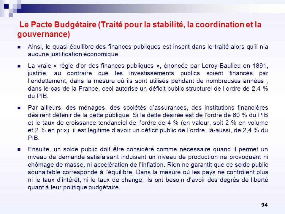94 Le Pacte Budgétaire (Traité pour la stabilité, la coordination et la gouvernance) Ainsi, le quasi-équilibre des finances publiques est inscrit dans