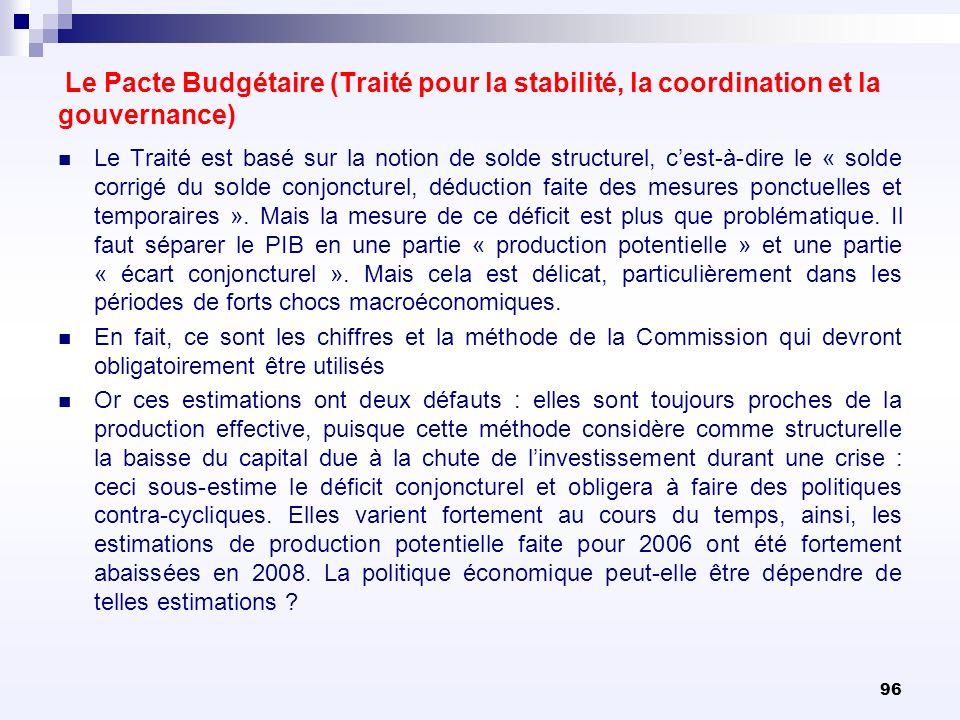 96 Le Pacte Budgétaire (Traité pour la stabilité, la coordination et la gouvernance) Le Traité est basé sur la notion de solde structurel, cest-à-dire