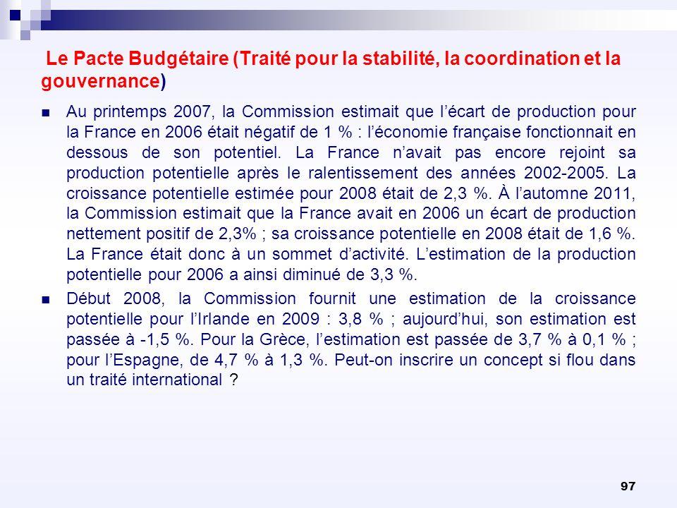 97 Le Pacte Budgétaire (Traité pour la stabilité, la coordination et la gouvernance) Au printemps 2007, la Commission estimait que lécart de productio