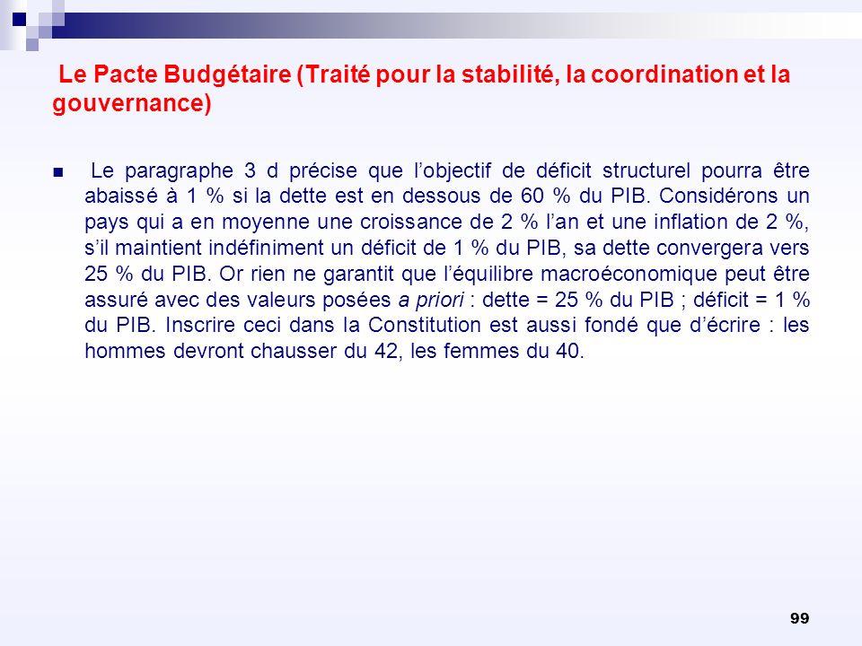 99 Le Pacte Budgétaire (Traité pour la stabilité, la coordination et la gouvernance) Le paragraphe 3 d précise que lobjectif de déficit structurel pou