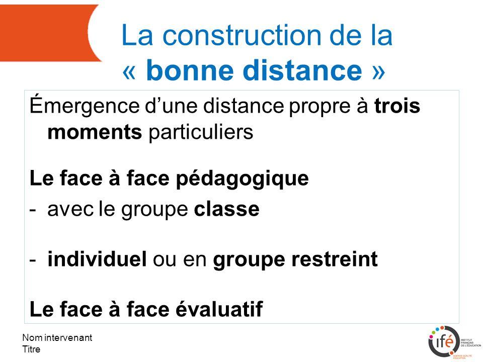 La construction de la « bonne distance » Émergence dune distance propre à trois moments particuliers Le face à face pédagogique -avec le groupe classe -individuel ou en groupe restreint Le face à face évaluatif Nom intervenant Titre
