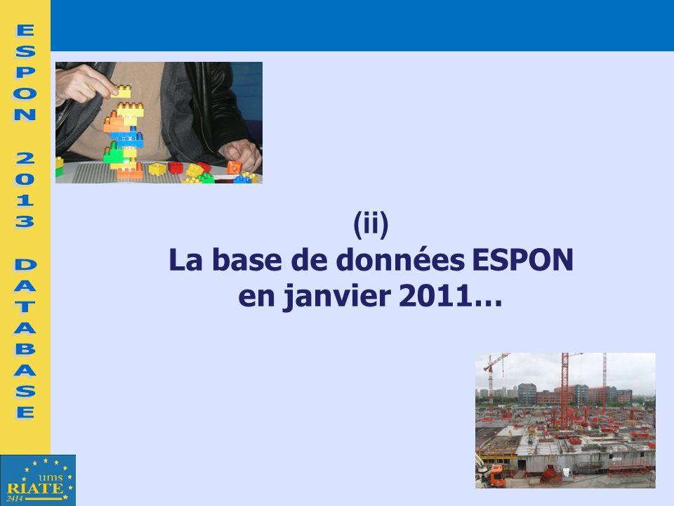 (ii) La base de données ESPON en janvier 2011…