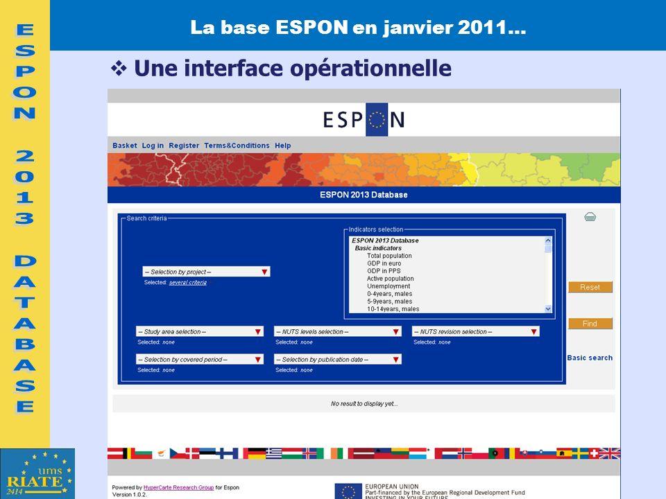 La base ESPON en janvier 2011… Une interface opérationnelle