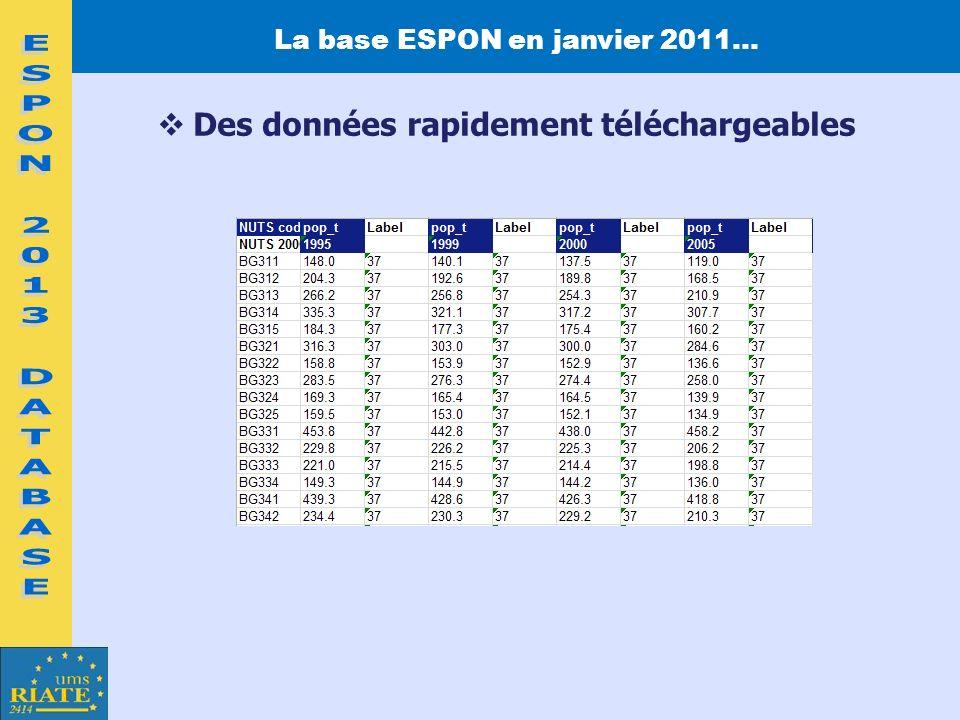 La base ESPON en janvier 2011… Des données rapidement téléchargeables