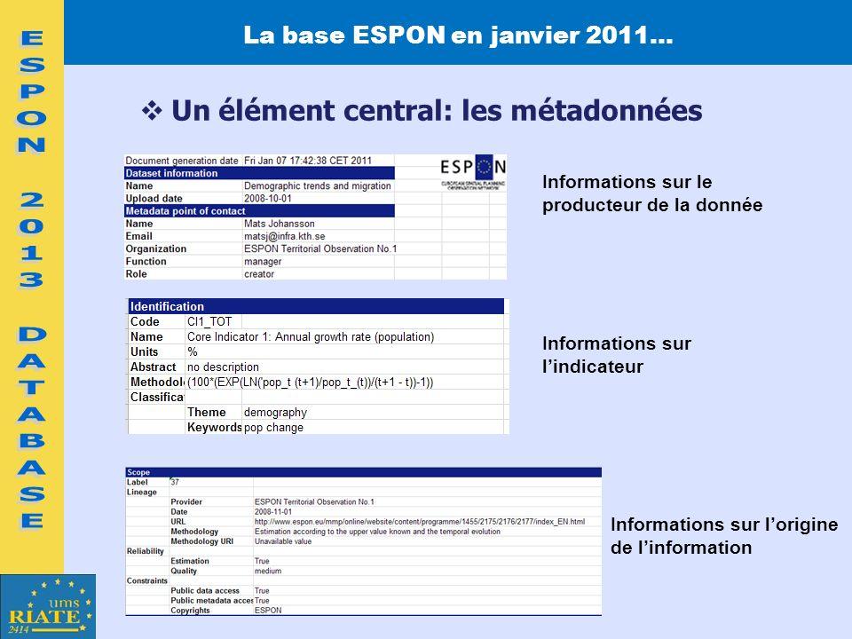 La base ESPON en janvier 2011… Un élément central: les métadonnées Informations sur le producteur de la donnée Informations sur lindicateur Informatio
