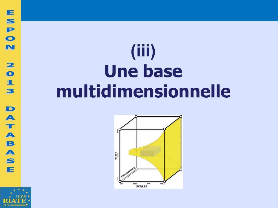 (iii) Une base multidimensionnelle