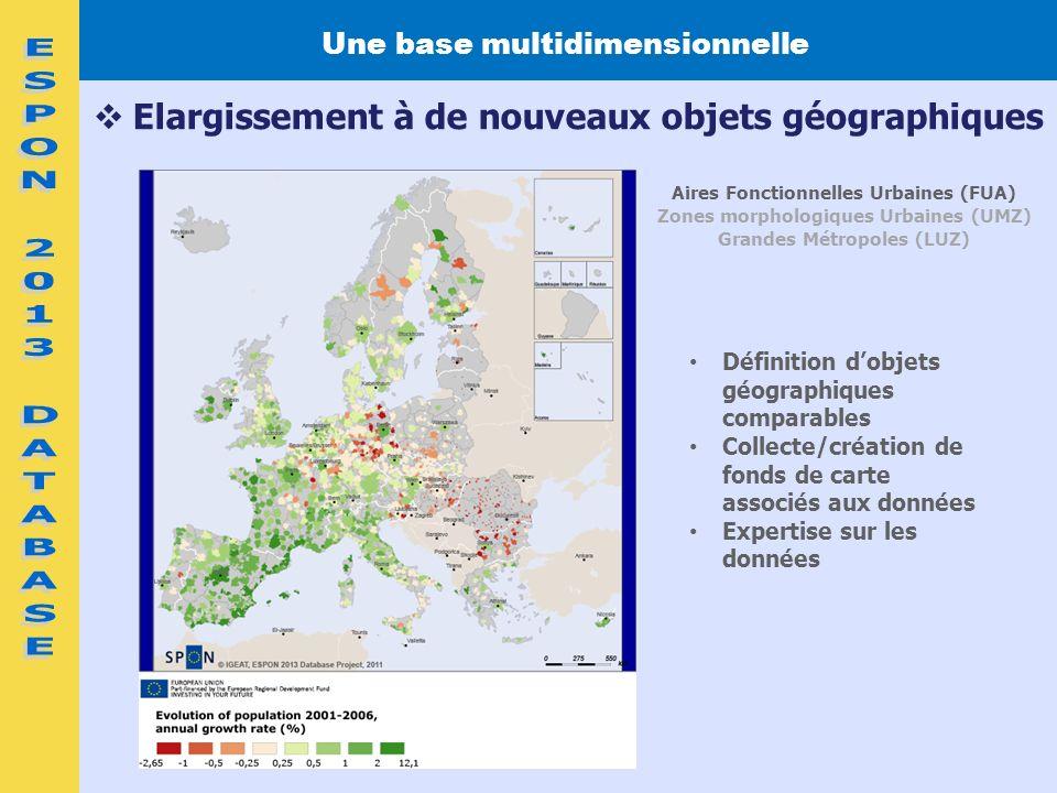 Définition dobjets géographiques comparables Collecte/création de fonds de carte associés aux données Expertise sur les données Une base multidimensio