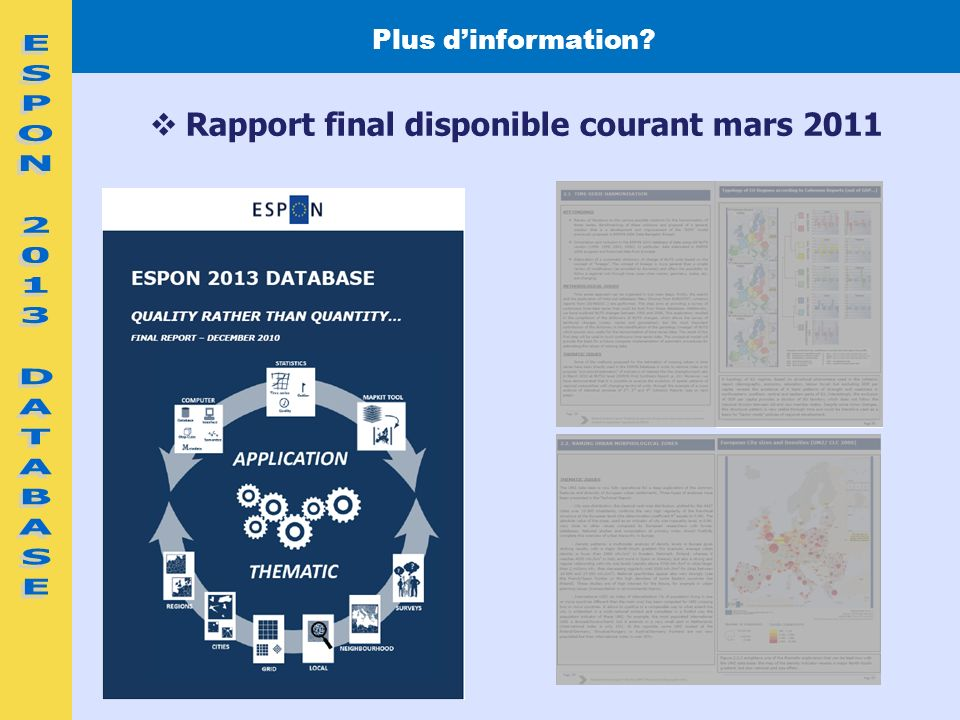 2 Plus dinformation? Rapport final disponible courant mars 2011