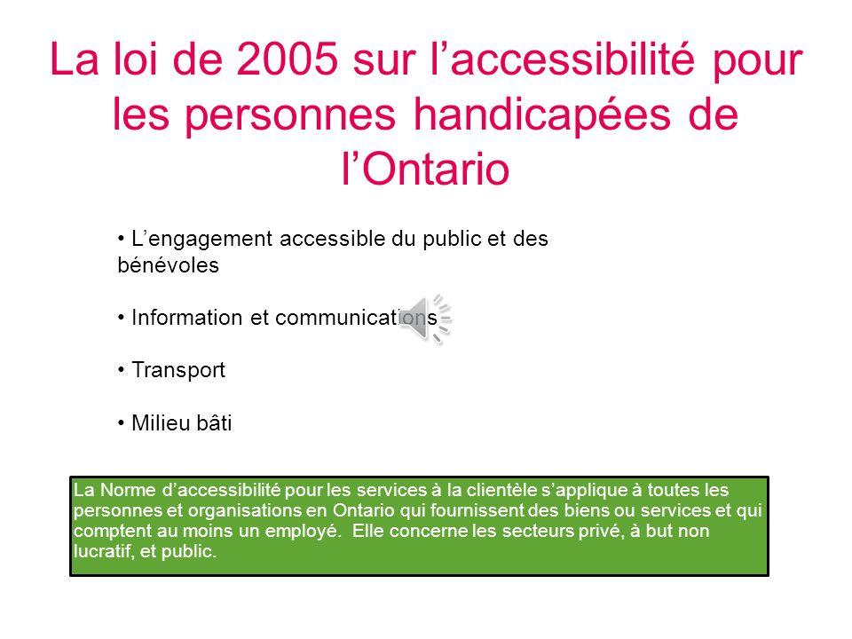 Objectifs spécifiques La Loi de 2005 sur laccessibilité pour les personnes handicapées de lOntario et la Norme pour les services à la clientèle Les ty