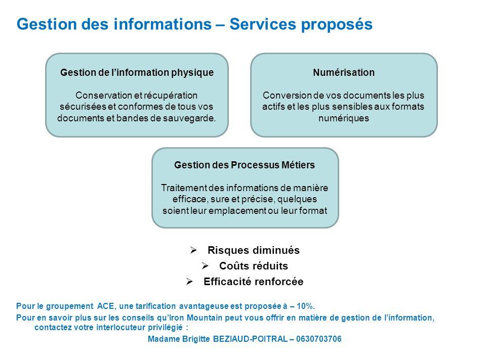 Gestion des informations – Services proposés Risques diminués Coûts réduits Efficacité renforcée Pour le groupement ACE, une tarification avantageuse est proposée à – 10%.