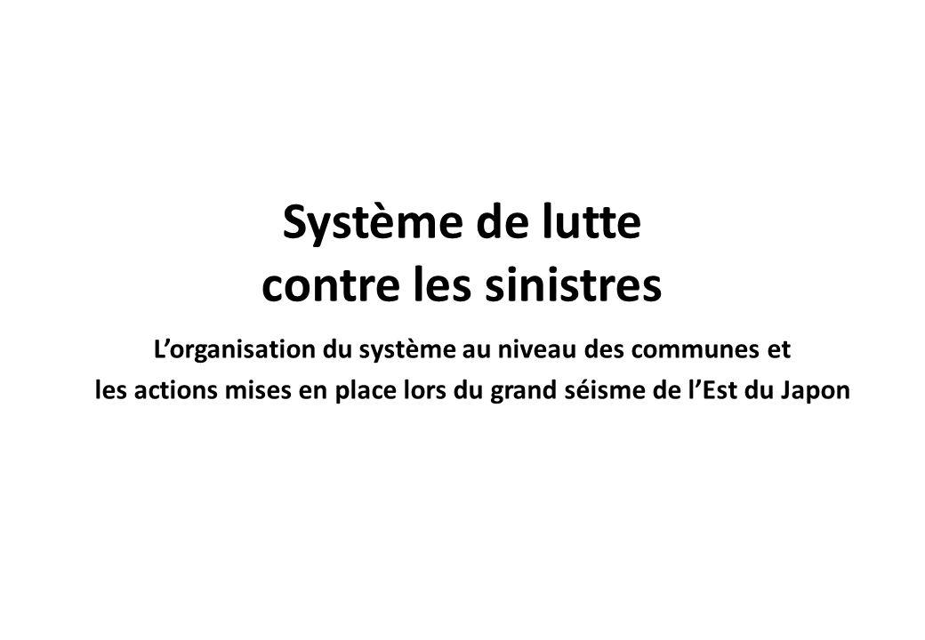 Système de lutte contre les sinistres Lorganisation du système au niveau des communes et les actions mises en place lors du grand séisme de lEst du Ja