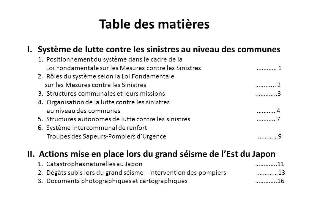Table des matières I.Système de lutte contre les sinistres au niveau des communes 1. Positionnement du système dans le cadre de la Loi Fondamentale su