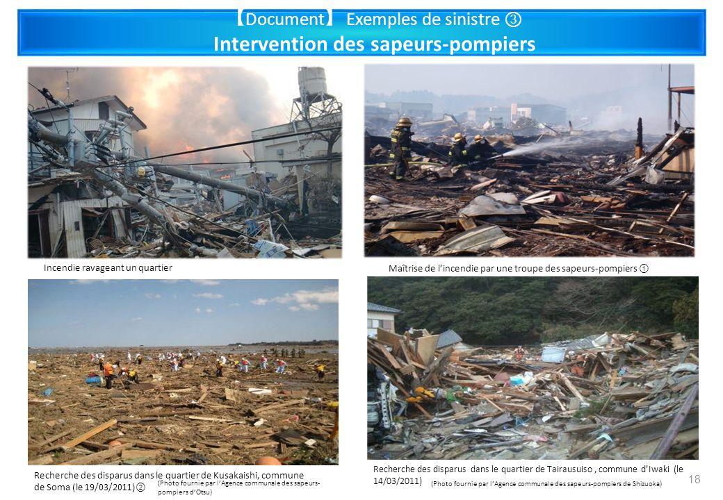 Document Exemples de sinistre Intervention des sapeurs-pompiers Incendie ravageant un quartier Maîtrise de lincendie par une troupe des sapeurs-pompie