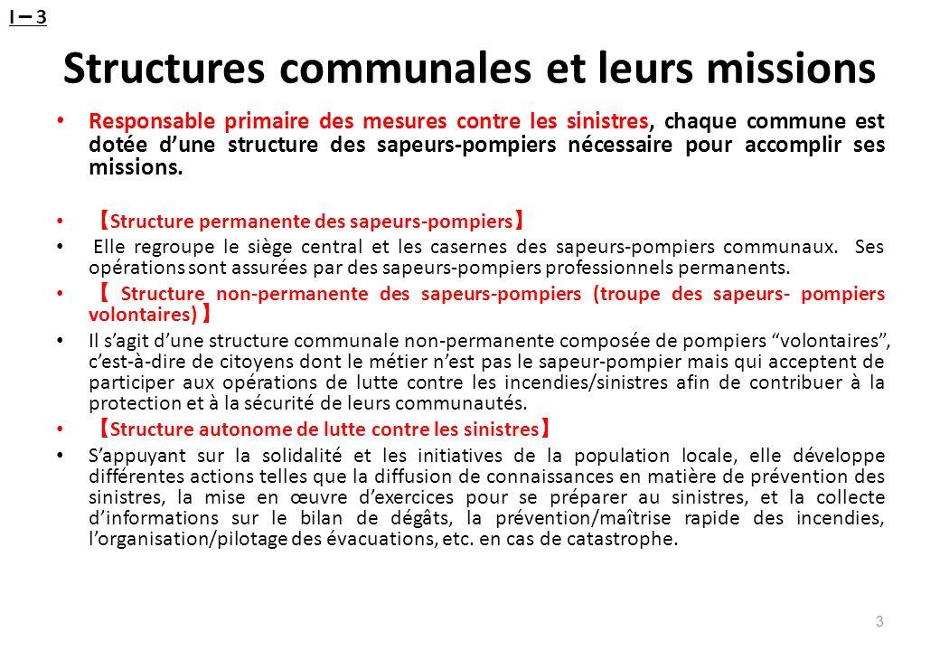 Structures communales et leurs missions Responsable primaire des mesures contre les sinistres, chaque commune est dotée dune structure des sapeurs-pom