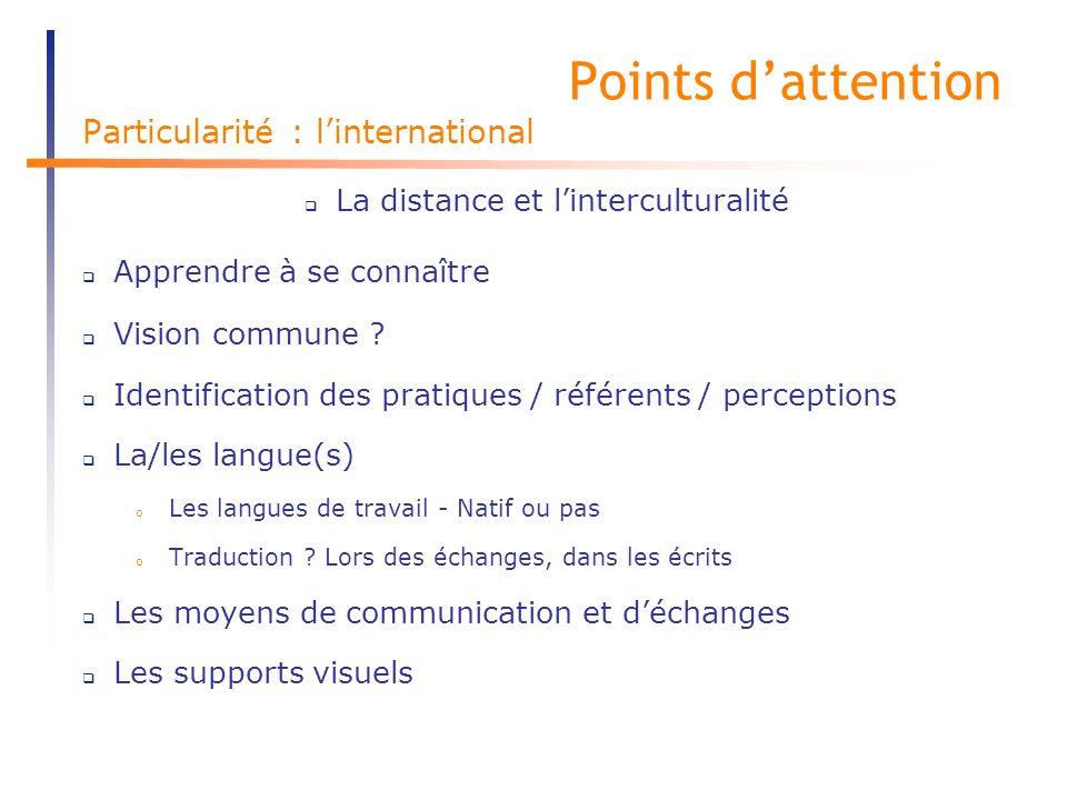 Points dattention Particularité : linternational La distance et linterculturalité Apprendre à se connaître Vision commune .