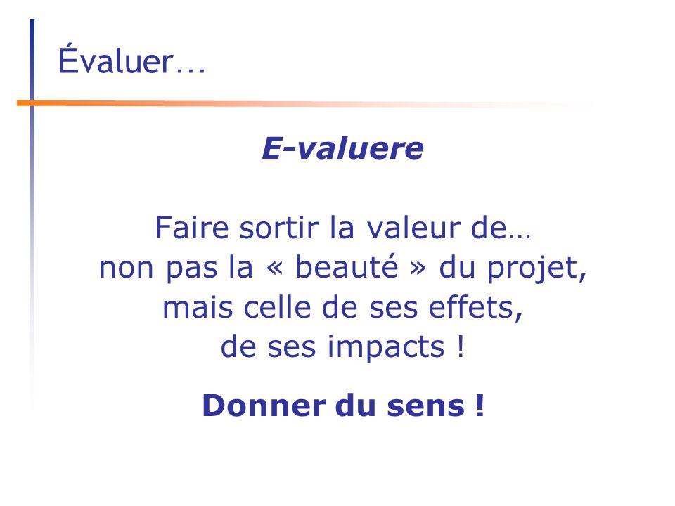É valuer … E-valuere Faire sortir la valeur de… non pas la « beauté » du projet, mais celle de ses effets, de ses impacts .