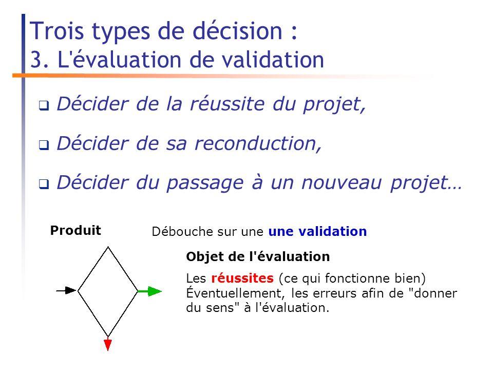 Trois types de décision : 3.
