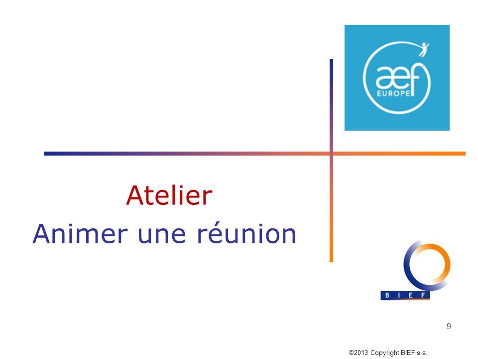 Atelier 2 : Animer une réunion 10 ANIMER UNE REUNION = un projet en soi ANIMER UNE REUNION = un projet en soi Et après ….